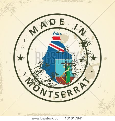 Grunge stamp with map flag of Montserrat - vector illustration