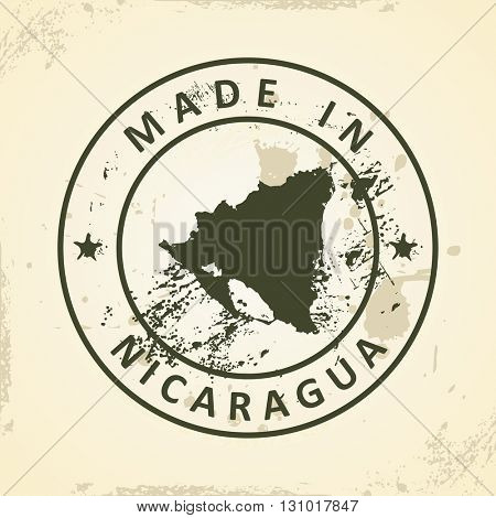 Grunge stamp with map of Nicaragua - vector illustration