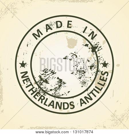 Grunge stamp with map of Netherlands Antilles - vector illustration