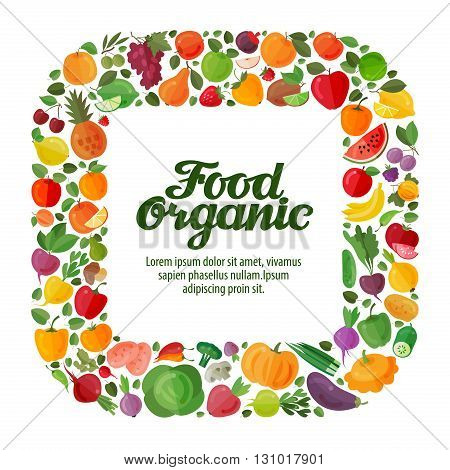 vegetables and fruits vector background. modern flat design. healthy food