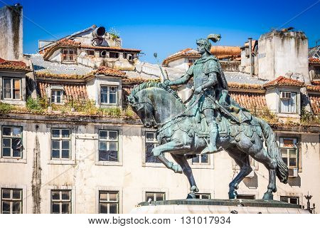 Lisbon Portugal. Equestrian statue of King John I in the Praca da Figueira Lisbon.