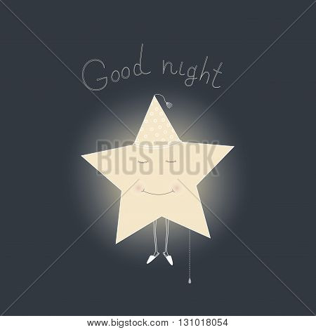 Vector card illustration with sleeping star. Wishes of good night.