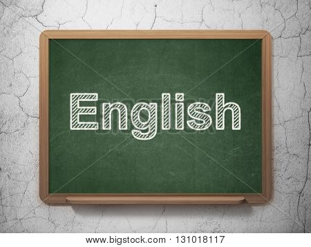 Learning concept: text English on Green chalkboard on grunge wall background, 3D rendering