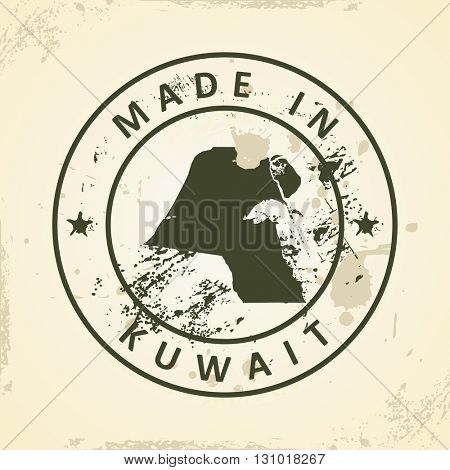 Grunge stamp with map of Kuwait - vector illustration