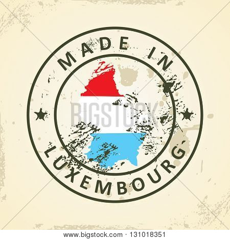 Grunge stamp with map flag of Luxembourg - vector illustration