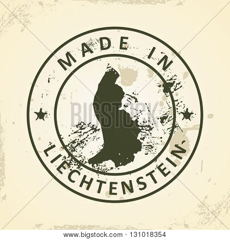 Grunge stamp with map of Liechtenstein - vector illustration