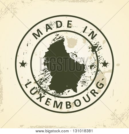 Grunge stamp with map of Luxembourg - vector illustration