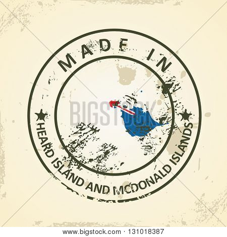 Grunge stamp with map flag of Heard Island and McDonald Islands - vector illustration