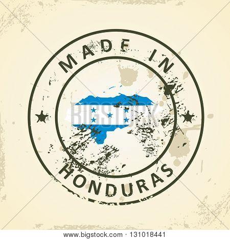 Grunge stamp with map flag of Honduras - vector illustration