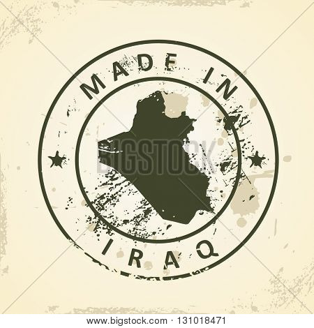 Grunge stamp with map of Iraq - vector illustration