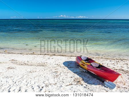 Sea kayak at the lonely Anda white beach of Bohol Islands of Philippines