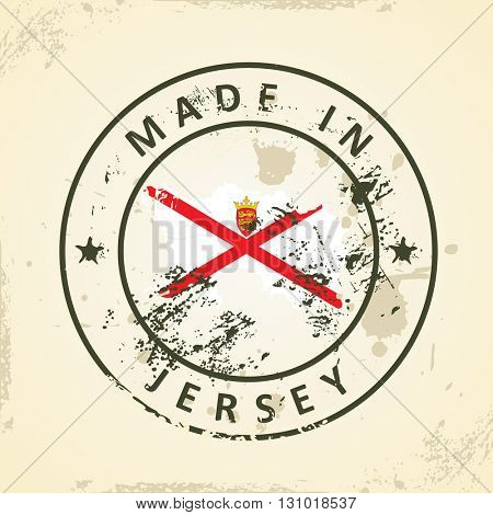 Grunge stamp with map flag of Jersey - vector illustration