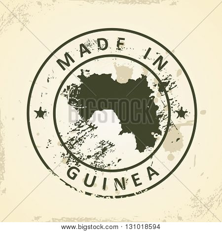 Grunge stamp with map of Guinea - vector illustration