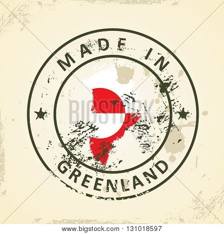 Grunge stamp with map flag of Greenland - vector illustration