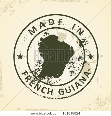 Grunge stamp with map of French Guiana - vector illustration