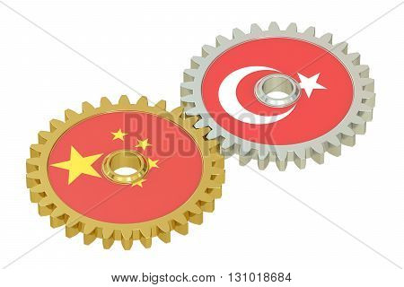 Chinese and Turkish flags on a gears 3D rendering isolated on white background