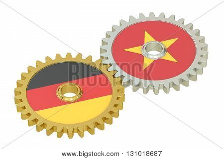 Germany and Vietnam flags on a gears 3D rendering isolated on white background