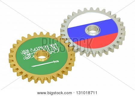 Saudi Arabia and Russia flags on a gears 3D rendering isolated on white background