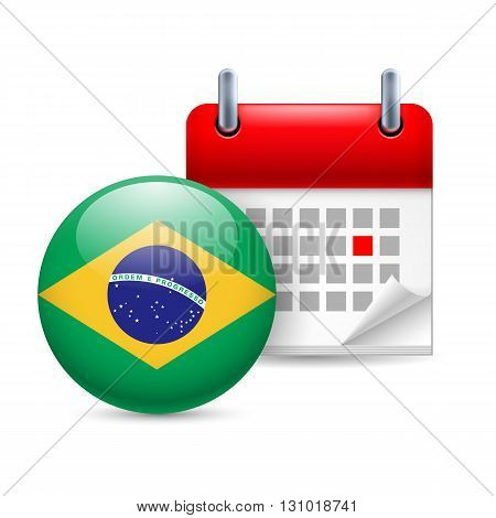 Calendar and round Brazillian flag icon. National holiday in Brazil