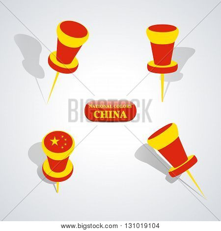 Set of pushpin in the national colors of China vector illustration.