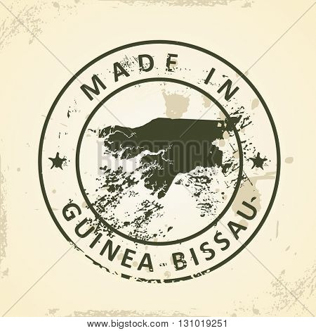 Grunge stamp with map of Guinea-Bissau - vector illustration