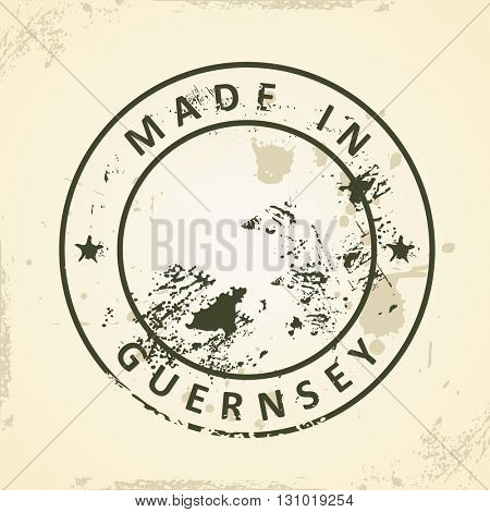 Grunge stamp with map of Guernsey - vector illustration