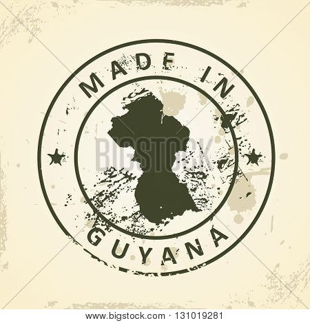 Grunge stamp with map of Guyana - vector illustration