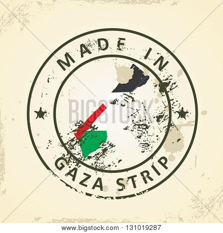 Grunge stamp with map flag of Gaza Strip - vector illustration