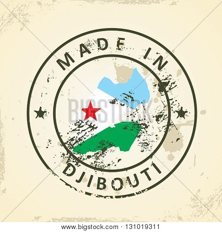 Grunge stamp with map flag of Djibouti - vector illustration