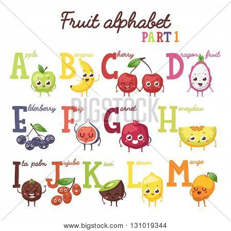 Fruit alphabet vector illustration.