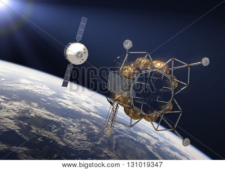 Crew Exploration Vehicle In Rays Of the Sun. 3D Illustration.