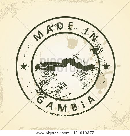 Grunge stamp with map of Gambia - vector illustration