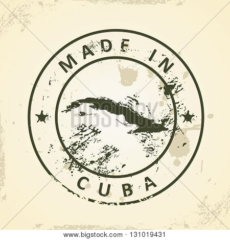 Grunge stamp with map of Cuba - vector illustration