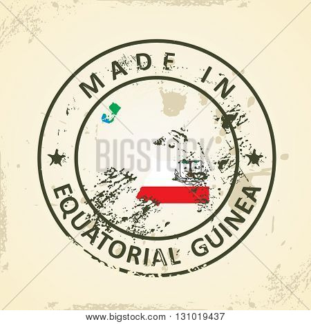 Grunge stamp with map flag of Equatorial Guinea - vector illustration