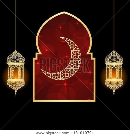 Ramadan greeting card on red and black background. Vector illustration.