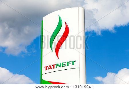 SAMARA RUSSIA - MAY 22 2016: Logo of oil company Tatneft against blue sky. Tatneft is one of the russian oil companies