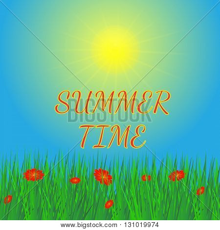 Summer background. Vector illustration. Sky sun and grass. Background in green blue and yellow colors.