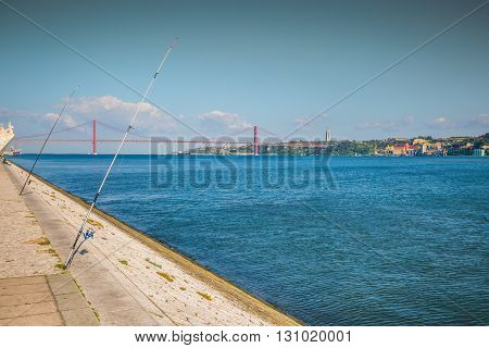 Lisbon on the Tagus river bank central Portugal