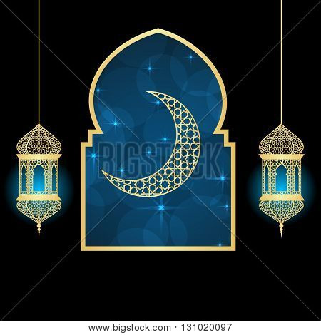 Ramadan greeting card on blue and black background. Vector illustration.