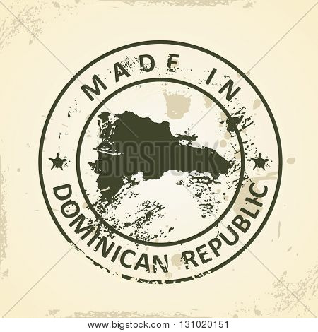 Grunge stamp with map of Dominican Republic - vector illustration