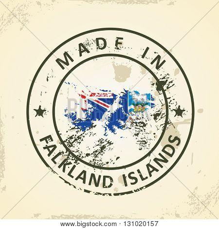 Grunge stamp with map flag of Falkland Islands - vector illustration