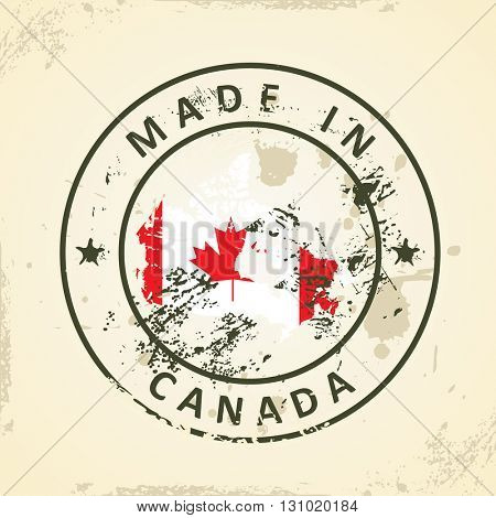 Grunge stamp with map flag of Canada - vector illustration
