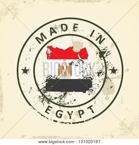 Grunge stamp with map flag of Egypt - vector illustration