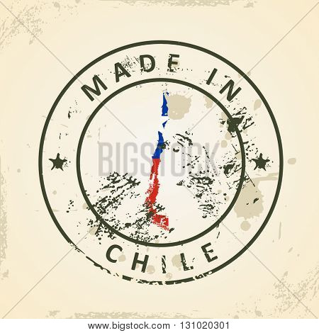 Grunge stamp with map flag of Chile - vector illustration