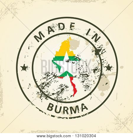 Grunge stamp with map flag of Burma - vector illustration