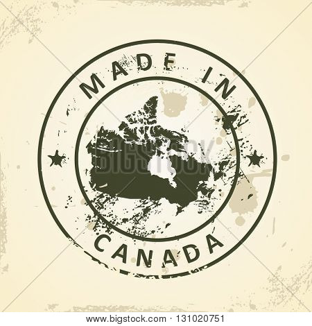 Grunge stamp with map of Canada - vector illustration