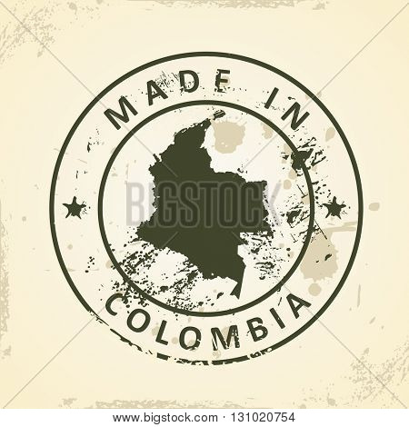 Grunge stamp with map of Colombia - vector illustration