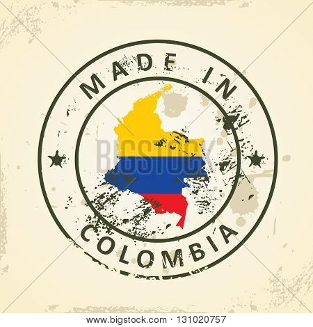 Grunge stamp with map flag of Colombia - vector illustration