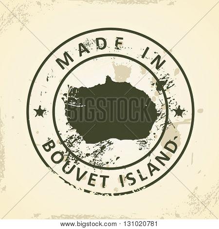 Grunge stamp with map of Bouvet Island - vector illustration