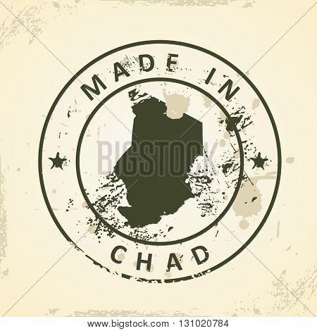 Grunge stamp with map of Chad - vector illustration